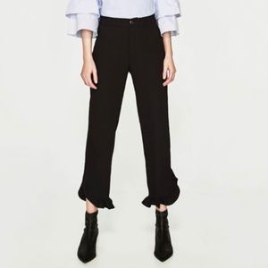Navy Blue Ankle Dress Pants w/ Ruffles Size S